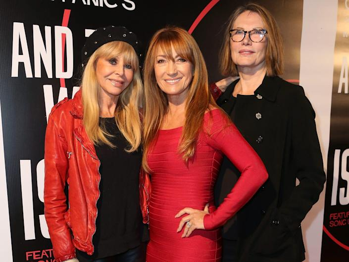 """Britt Ekland, Jane Seymour, and Maud Adams attend the premiere of """"And The Winner Isn't"""" at Laemmle Music Hall on December 8, 2017 in Beverly Hills, California."""
