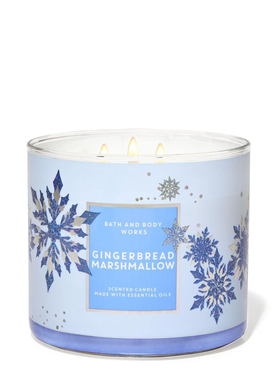 "<p><strong>Bath & Body Works</strong></p><p>bathandbodyworks.com</p><p><strong>$24.50</strong></p><p><a href=""https://www.bathandbodyworks.com/p/gingerbread-marshmallow-3-wick-candle-026178787.html"" rel=""nofollow noopener"" target=""_blank"" data-ylk=""slk:Shop Now"" class=""link rapid-noclick-resp"">Shop Now</a></p><p>Honestly I forgot I had a candle burning at most poinst with this one but when I *did* remember, I liked it. It's cute!</p>"