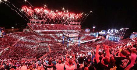 Fans are pictured at WrestleMania 33 at the Orlando Citrus Bowl in Orlando, Florida, United States in this April 2, 2017 handout photo. WWE/Handout via REUTERS