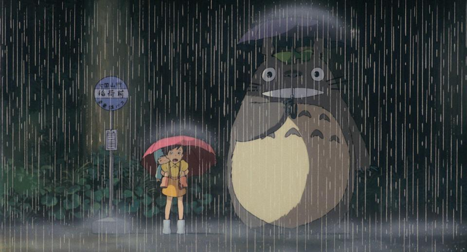 My Neighbour Totoro – When Satsuki and Mei wait in the rain for the bus with Totoro.