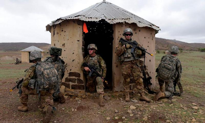 US soldiers during a joint training exercise with Senegalese 1st Paratrooper Battalion in Senegal.