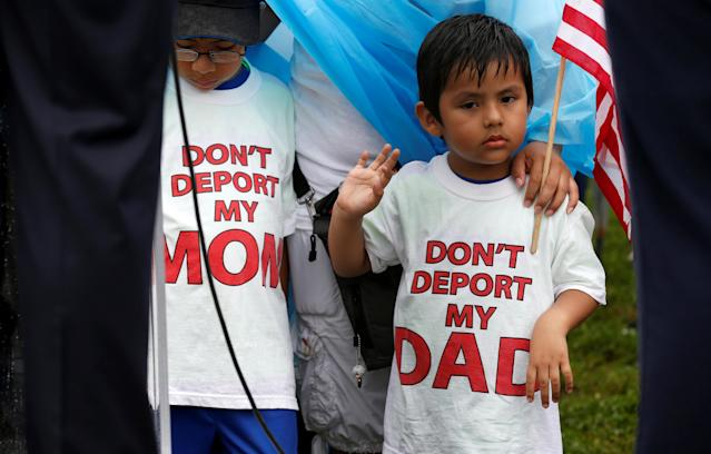 <p>Boys wearing shirts calling for their parents not to be deported stand during a rally by immigration activists CASA and United We Dream demanding the Trump administration protect the Deferred Action for Childhood Arrivals (DACA) program and the Temporary Protection Status (TPS) programs, in Washington, D.C., Aug. 15, 2017. (Photo: Joshua Roberts/Reuters) </p>