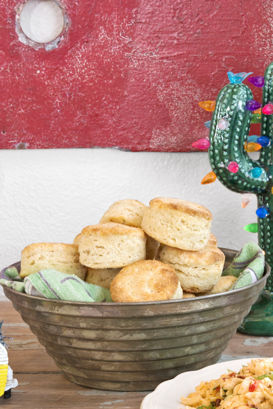 """<p>Flaky masa biscuits go perfectly with spicy pimento cheese or cheesy grits.</p><p><strong><a href=""""https://www.countryliving.com/food-drinks/recipes/a45491/masa-biscuits-recipe/"""" rel=""""nofollow noopener"""" target=""""_blank"""" data-ylk=""""slk:Get the recipe"""" class=""""link rapid-noclick-resp"""">Get the recipe</a>.</strong> </p>"""