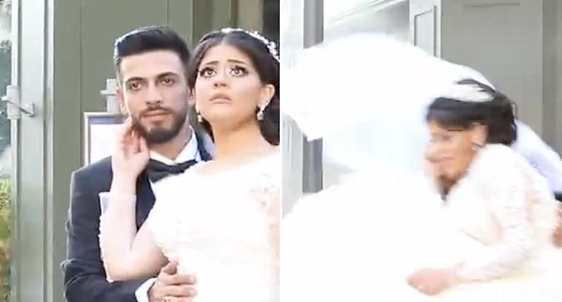 Amin Chamli and Hanaa Fanous are pictured in their wedding video during the Beirut explosion.