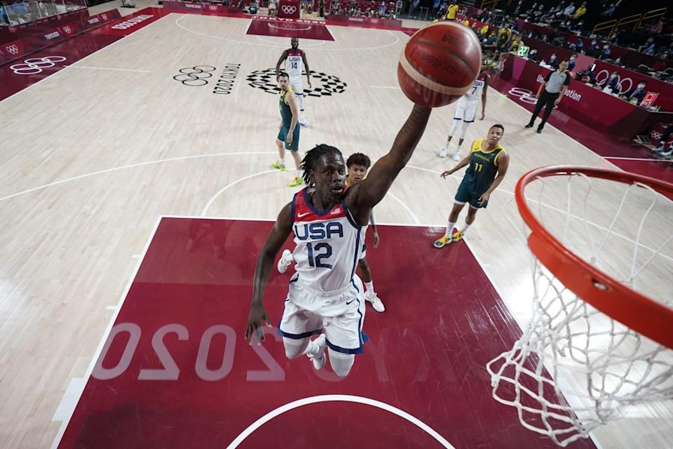 Jrue Holiday leaps for the basket at the Tokyo Olympics.