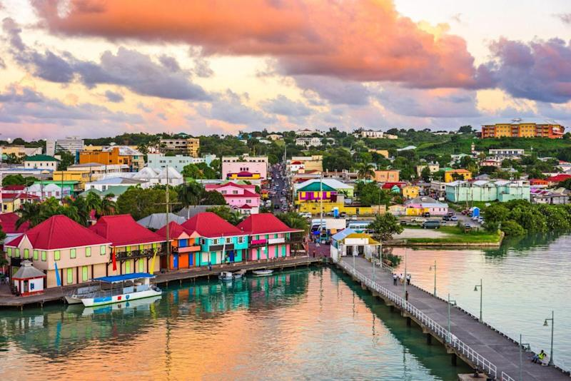 St. John's, Antigua port and skyline at twilight (Alamy Stock Photo)