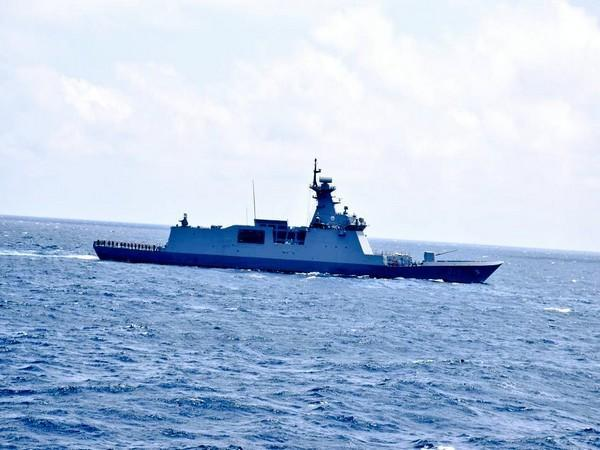 Indian Navy warship conducts military drill with South Korean Ship in east China Sea.