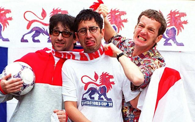 World in Motion? Three Lions? The Ant and Dec classic We're on the ball? As the World Cup 2018 in Russia gets underway, which great and not-so-great tracks make up the top 10 official England songs? 1. 'Three Lions 98' - Baddiel and Skinner/The Lightning Seeds (1998) Originally written for the European championships in 1996, this matey Britpop chant was rolled out again for the '98 World Cup campaign. Awash with shameless nostalgia, it has an unnerving ability to make one come over all misty-eyed. Perhaps it was so popular on the terraces because it was the first football song to describe the joy and pain of being a fan and the agony and ecstasy of following an England team that usually disappoints. 2. 'World in Motion'- England and New Order (1990) Featuring John Barnes rapping, and the rest of the England squad, New Order created a stone-cold electronic-pop classic, (co-written by Keith Allen) which rode the crest of the rave wave and became the theme tune for Italia 90. (Nessun Dorma notwithsatanding of course). 'No Alla Violenza' was the mantra as loved-up England fans ditched the hooliganism and England reached the semi-finals. 3. - 'Back Home' - (England World Cup Squad (1970) This was the track that set the trend for players swapping the pitch for the recording studio. The boys enlisted the assistance of a marching band for this rousing tune that stayed at the top of the charts for three weeks. 4. 'This time (We'll get it right)' - England World Cup Squad (1982) Or not. An ambitious England squad promised much but failed to deliver in Spain, returning home after a disappointing 0-0 draw in the second round. Maybe this time, they really will get it right. Or not. 5. 'Vindaloo' - Fat Les (1998) An inspired, subversive parody of the football chant genre. Or a hooligan's anthem? Opinion is divided over the track penned by Keith Allen (him again) which became the unofficial song of the 1998 tournament in France. 6. '(How does it feel to be) On top of the world' - England United (1998) Sung by the future Mrs Beckham, along with Spice Girl bandmates, Echo and the Bunnymen and the Lightning Seeds, this chirpy poppy number was somewhat eclipsed by the Fat Les effort. 7. 'England Crazy' - Rider feat. Terry Venables (2002) El Tel recorded a double A-side with little-known indie band, Rider, with one terrace-friendly chant version and another Frank Sinatra-style swing version. The video for the latter shows a rather chuffed-looking Venables surrounded by scantily-clad showgirls. 8. 'We're on the Ball' - Ant and Dec (2002) The perky Geordie duo re-worked the old Arsenal anthem to sing the team on their way to Japan and Korea. Other tunes of the summer included Martin Bell and Jonathan Spurling's 'Sven, Sven, Sven'. World Cup 2018 | The best of the Telegraph's coverage 9. 'World at your Feet' - Embrace (2006) This rather clean-cut, Coldplay-esque number from Yorkshire rock band, Embrace, faced stiff competition from the likes of Ricky ('Come on England') and Crazy Frog to become the 2006 team's official anthem. 10. 'We've Got the Whole World at Our Feet' England Squad - (1986) By the time Mexico '86 rolled around, the 'off-key lads-around-a-mike sing-song' was going out of fashion.Thank heavens New Order rewrote the songbook. 11. 'Diamond Lights' - Glenn Hoddle and Chris Waddle - (1987) OK, so this is not a World Cup song and probably unworthy of a place in this run-down, but who can resist mentioning this synth-pop opus, courtesy of Spurs team-mates Hoddla and Waddla. Worth watching for the Miami Vice jackets and the mullets. World Cup 2018 | Fixtures, groups, squads and more