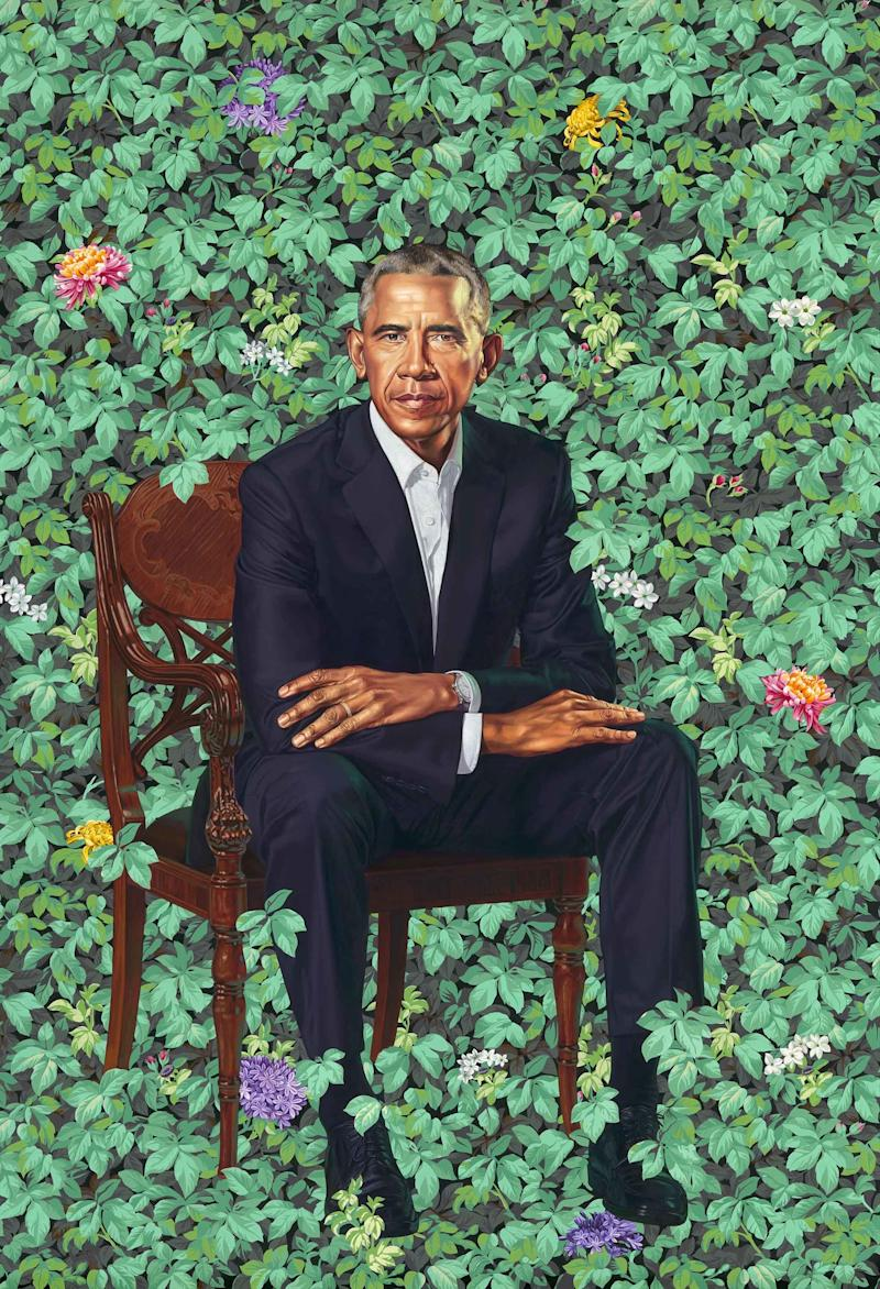 President Barack Obama's portrait by Kehinde Wiley. Courtesy of the National Portrait Gallery, Smithsonian Institution.