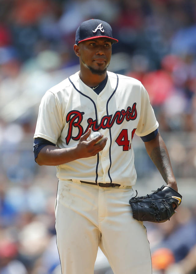 Atlanta Braves starting pitcher Julio Teheran reacts after a balk which brought in Miami Marlins Justin Bour to score in the fourth inning of a baseball game, Sunday, May 20, 2018, in Atlanta. (AP Photo/Todd Kirkland)