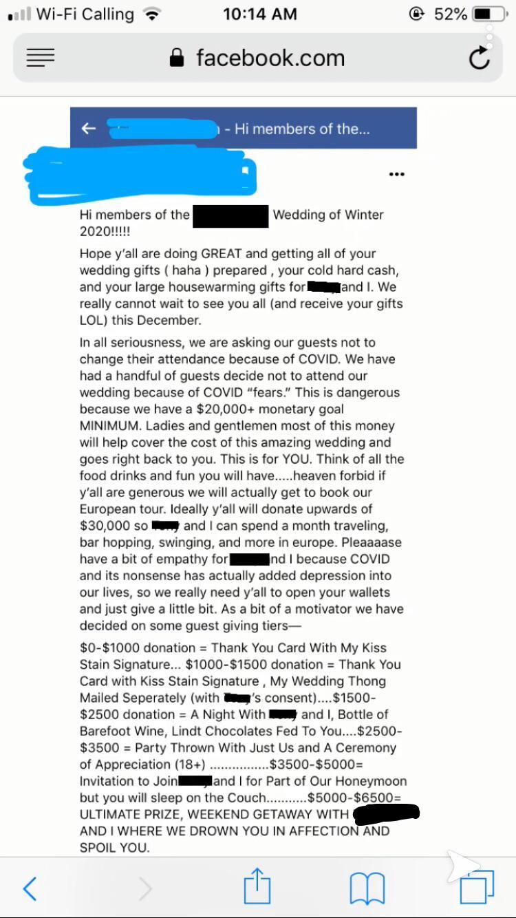 Bride offers guests X-rated rewards to reach $30k donation goal. Photo: Reddit.