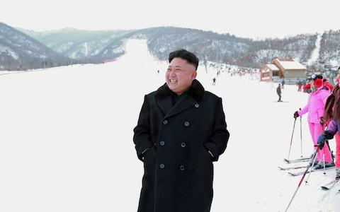 Kim Jong-un inspecting the ski resort at Masrik Pass in Kangwon province - Credit: KCNA via AFP