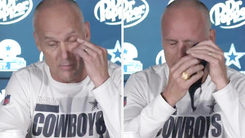 Dallas Cowboys defensive coach Mike Nolan had to leave a recent press conference after accidentally rubbing hot sauce in his eye. Pictures: Twitter