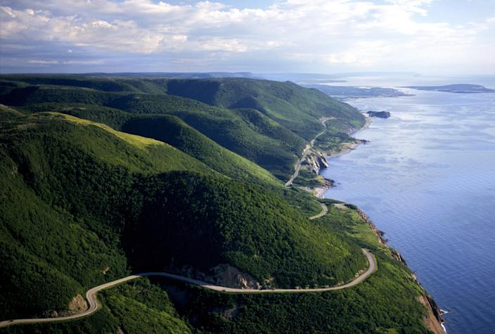 Canada's <strong>Cabot Trail</strong> consists of a 186-mile highway that snakes through the natural beauty of Cape Breton Island in Nova Scotia.