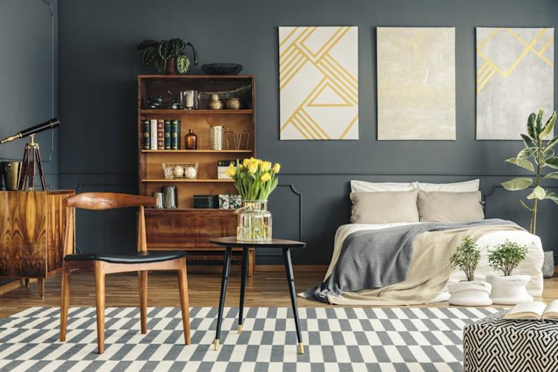 Geometric patterns like the one on this rug are an easy way to add a ton of visual interest to a room.