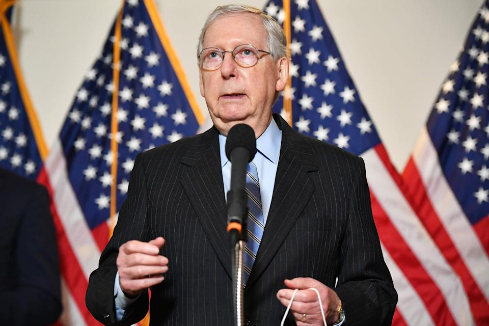 Senate Majority Leader Mitch McConnell on Aug. 4, 2020, in Washington, D.C.