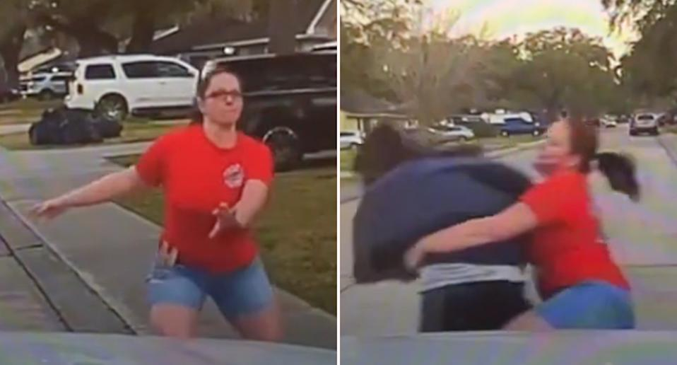 A woman tackles a suspect as he tries to escape police