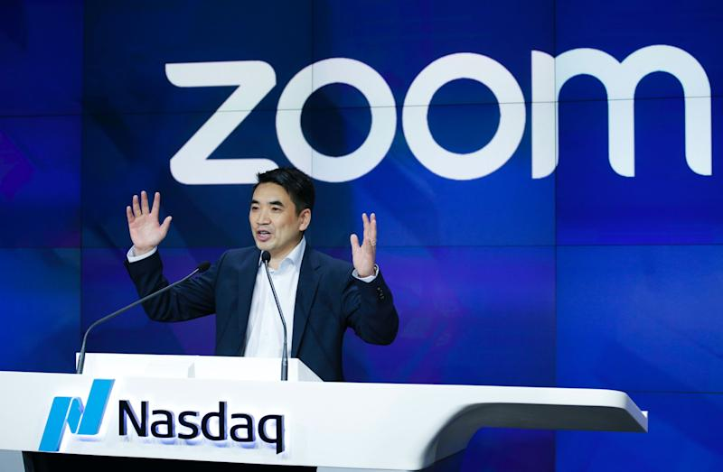 Zoom founder Eric Yuan speaks before the Nasdaq opening bell ceremony on April 18, 2019 in New York City. The video-conferencing software company announced it's IPO priced at $36 per share, at an estimated value of $9.2 billion. (Photo by Kena Betancur/Getty Images)