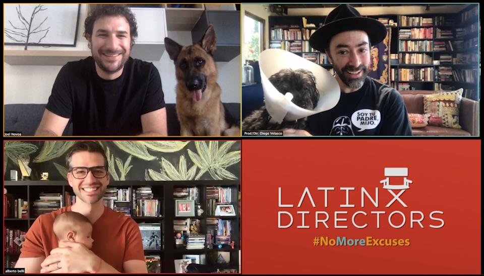 "Clockwise from top left, directors Joel Novoa, Diego Velasco and Alberto Belli, co-creators of the Latinx Directors database. <span class=""copyright"">(Joel Novoa, Diego Velasco and Alberto Belli)</span>"