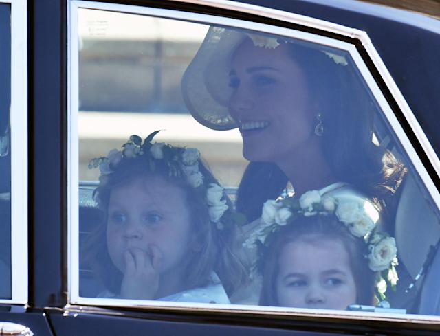 <p>The children sat with Kate Middleton, Duchess of Cambridge, in the car. (Photo: Getty) </p>