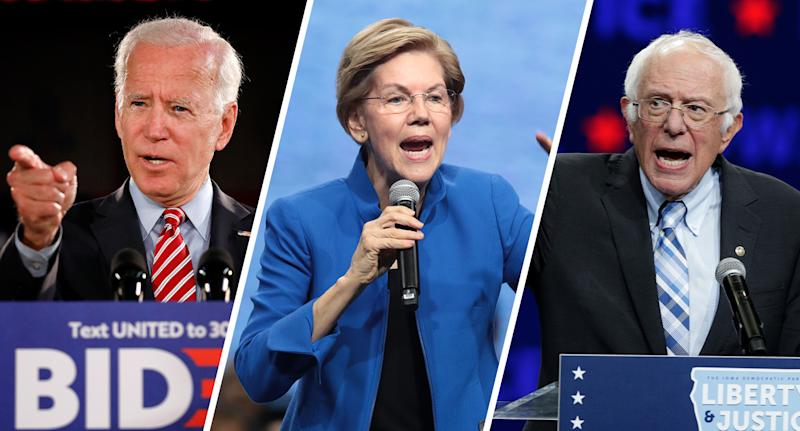 Joe Biden, Elizabeth Warren and Bernie Sanders
