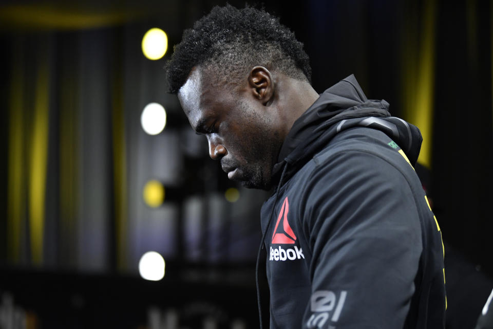 LAS VEGAS, NEVADA - OCTOBER 31: Uriah Hall of Jamaica prepares to fight Anderson Silva in a middleweight bout during the UFC Fight Night event at UFC APEX on October 31, 2020 in Las Vegas, Nevada. (Photo by Jeff Bottari/Zuffa LLC)