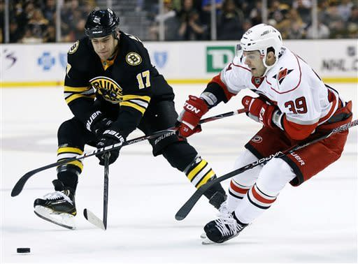 Carolina Hurricanes' Patrick Dwyer (39) and Boston Bruins' Milan Lucic (17) battle for the puck in the first period of an NHL hockey game in Boston, Monday, April, 8, 2013. (AP Photo/Michael Dwyer)