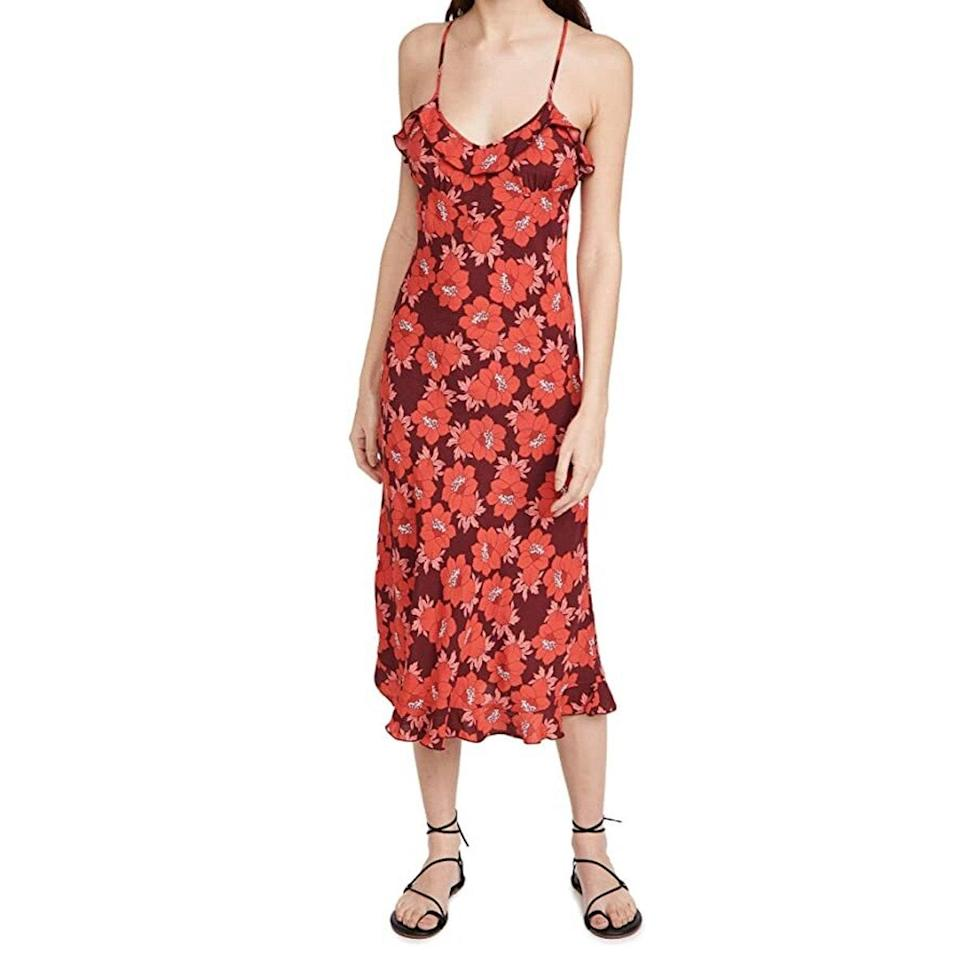 """Add a bit of pattern to a warm-toned bridal party with this '70s-inspired Rolla's dress. $129, Amazon. <a href=""""https://www.amazon.com/Rollas-Womens-Shelley-Datura-Dress/dp/B092K8F4J9"""" rel=""""nofollow noopener"""" target=""""_blank"""" data-ylk=""""slk:Get it now!"""" class=""""link rapid-noclick-resp"""">Get it now!</a>"""
