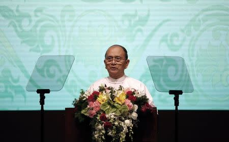 Myanmar President Thein Sein gives a speech during the opening ceremony of the 25th ASEAN summit at Myanmar International Convention Centre in Naypyitaw November 12, 2014. REUTERS/Soe Zeya Tun