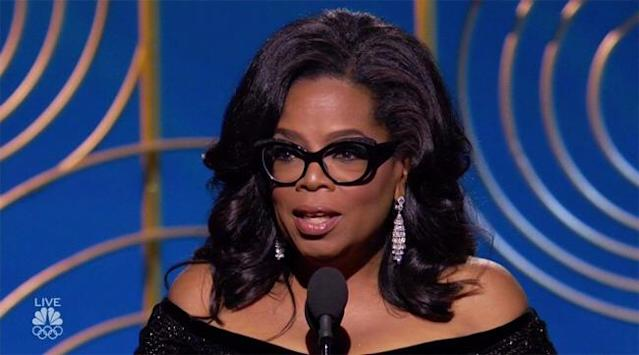 Oprah Winfrey at the Golden Globes. (Photo: NBC)