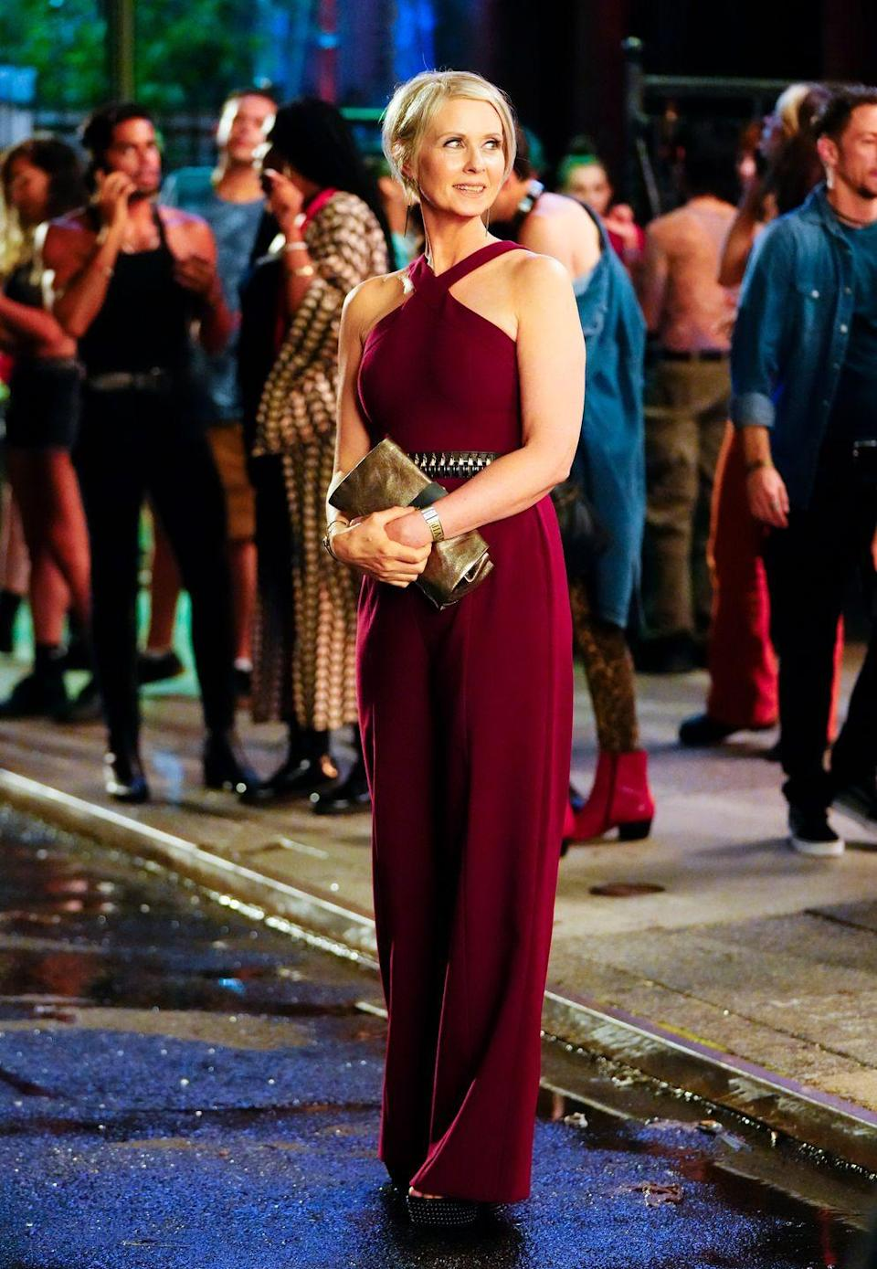 <p>Cynthia Nixon as Miranda was utterly elegant in a halterneck jumpsuit by New York-based label Likely. </p>