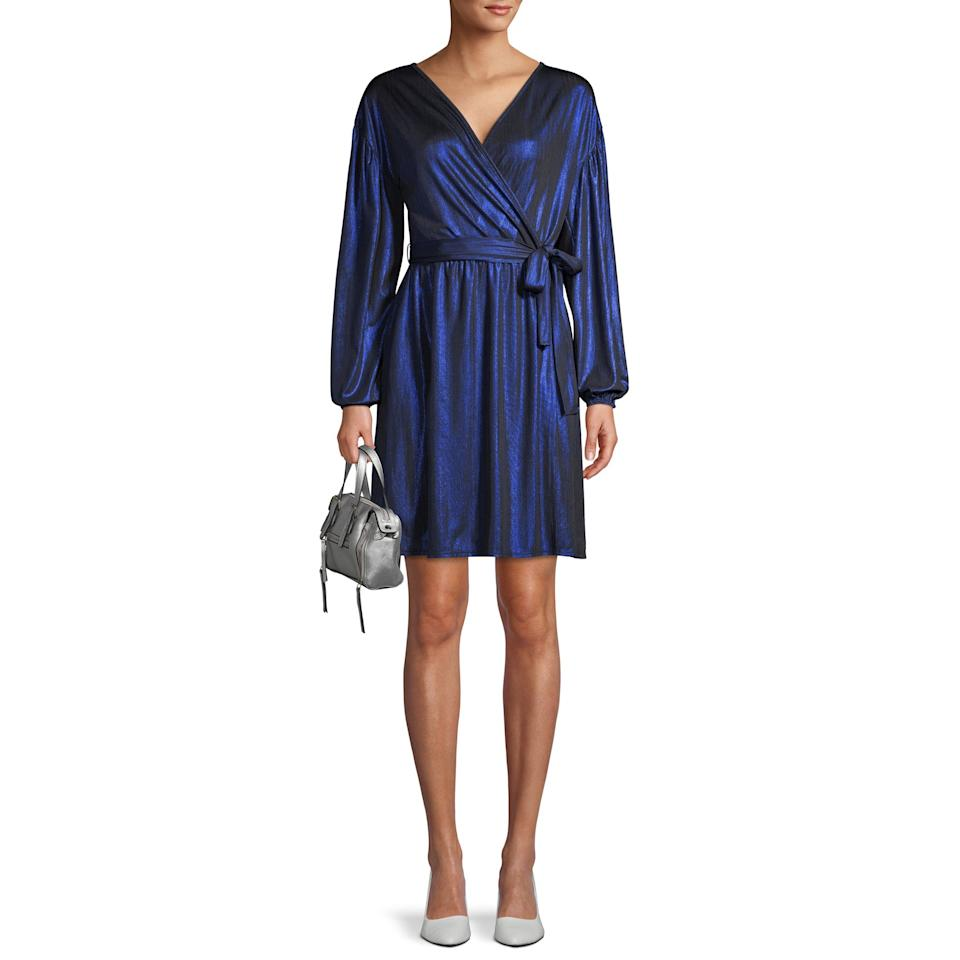 """<p>Forget the sequins; this metallic dress screams New Year's Eve in an elegant and understated way. The shimmering V-neck is lined and totally party-ready.</p> <p><strong>To buy:</strong> $27; <a href=""""https://goto.walmart.com/c/249354/565706/9383?subId1=WDA4EditorialContent5RSaffordableholidaydressesccalucchia1219&sharedid=WDA4EditorialContent5RSaffordableholidaydressesccalucchia1219&veh=aff&sourceid=imp_000011112222333344&u=https%3A%2F%2Fwww.walmart.com%2Fip%2FLove-Sadie-Women-s-Metallic-Wrap-Dress%2F436068989"""">walmart.com</a></p>"""