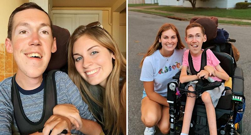 Able-bodied girlfriend Hannah Aylward and boyfriend Shane Burcaw with spinal muscular atrophy.