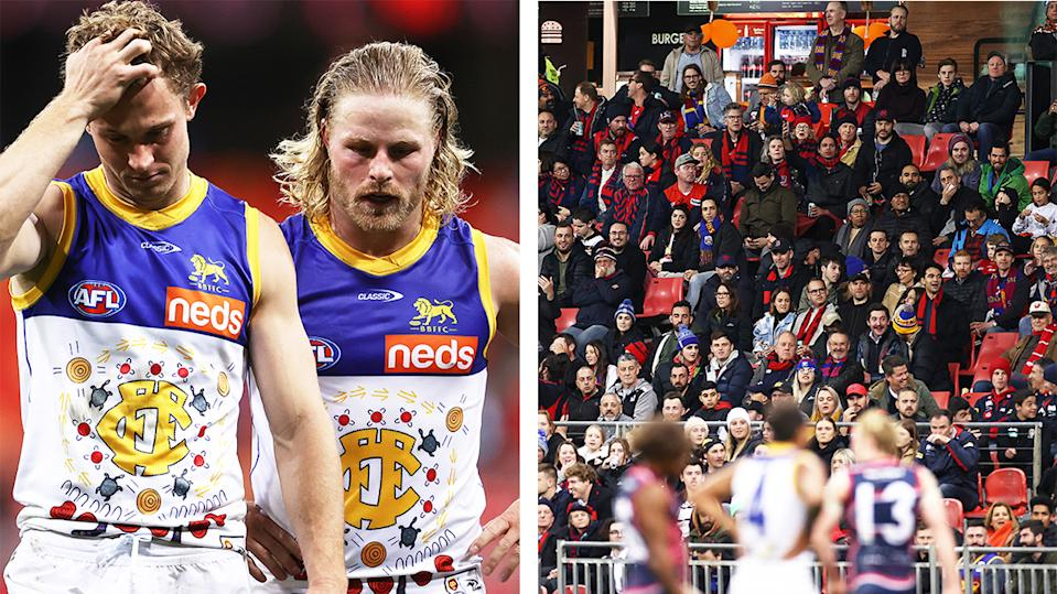 The crowd (pictured right) cheer at the Melbourne Demons and Brisbane Lions clash and (pictured left) Lions players frustrated.