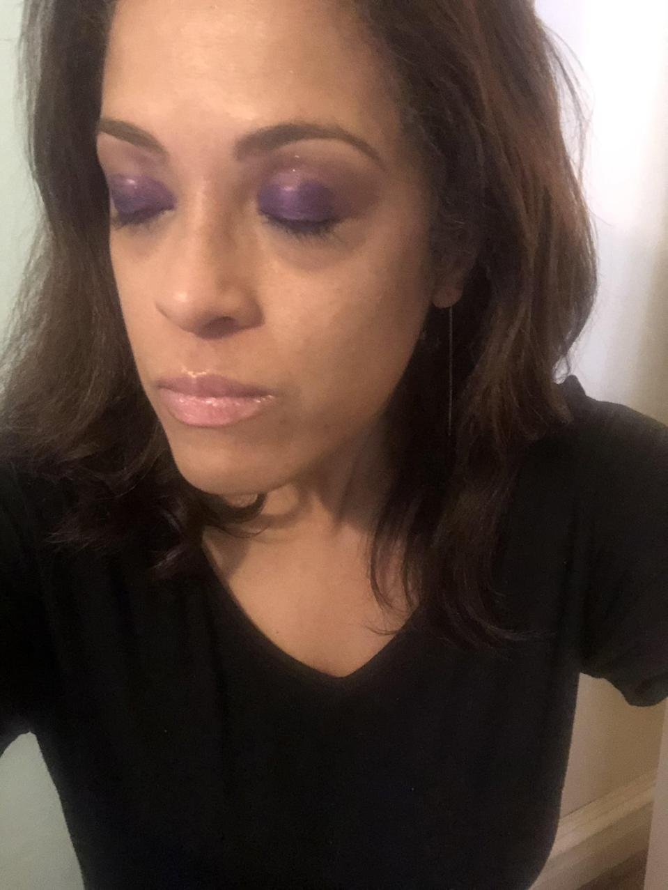 """<p>I usually shy away from purple eyeshadow, opting for warmer earth tones instead, but the vibrancy of this shade made it the one I was most excited to try. I swept it on with its applicator, and then used my finger to smudge the paint outward and upward toward my brows. I then went back over my lids a second time to leave some extra color there.<br><br> This Dominique Cosmetics formula is very forgiving. It stayed wet long enough for me to smudge both eyes, but didn't take as long to dry as other liquid eyeshadows in my collection. It was also easy to dab away extra product before it dried without leaving tell-tale shimmer, though I may <a href=""""https://www.popsugar.com/beauty/best-sephora-collection-makeup-brushes-47542770"""" class=""""link rapid-noclick-resp"""" rel=""""nofollow noopener"""" target=""""_blank"""" data-ylk=""""slk:opt to swap in a brush for more precision"""">opt to swap in a brush for more precision</a> in the future.</p>"""