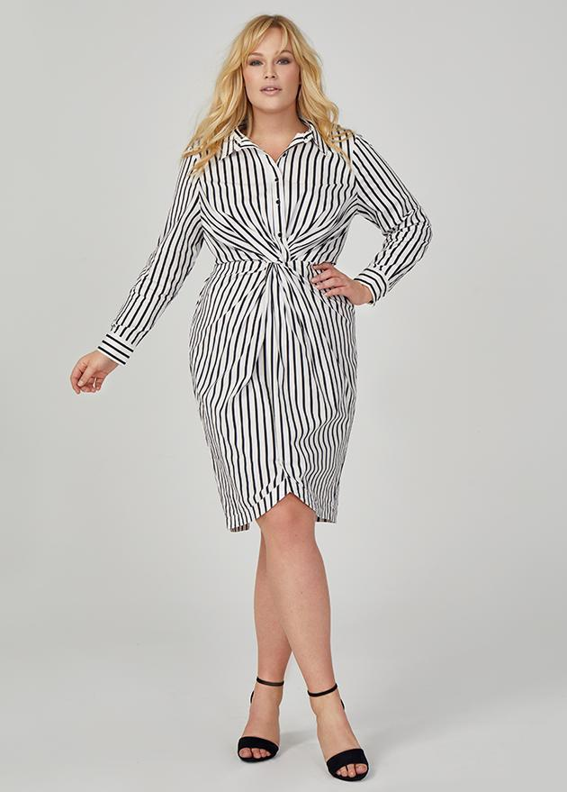 <p>This $189 knot front button down dress from the collection is a showstopper.</p>