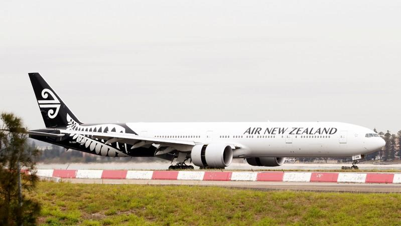 FILE PHOTO: An Air New Zealand Boeing 777 plane taxis after landing at Kingsford Smith International Airport in Sydney