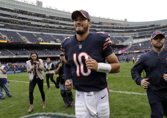 Chicago Bears quarterback Mitchell Trubisky (10) runs off the field after an NFL football game against the Tampa Bay Buccaneers Sunday, Sept. 30, 2018, in Chicago. The Bears won 48-10. (AP Photo/Nam Y. Huh)