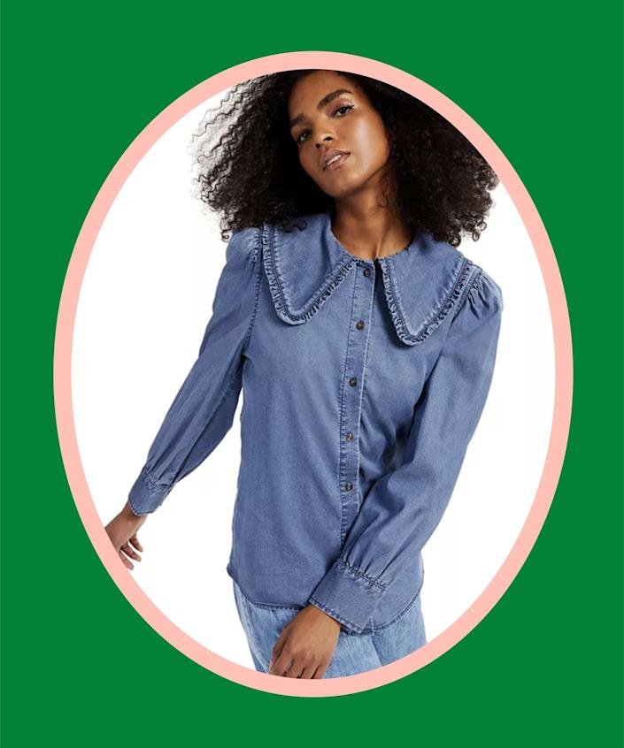 """<br><br><strong>INC International Concepts</strong> Wide-Collar Chambray Button-Front Shirt, $, available at <a href=""""https://go.skimresources.com/?id=30283X879131&url=https%3A%2F%2Fwww.macys.com%2Fshop%2Fproduct%2Finc-wide-collar-chambray-button-front-shirt-created-for-macys%3FID%3D11713290%26tdp%3Dcm_app%7EzMCOM-MMEW%7Excm_zone%7EzSEARCH_ZONE_A%7Excm_choiceId%7EzcidM89MPR-611bd2f8-f67e-431b-aeaf-f55da7792d7a%2540H96%2540Inspired%252Bby%252Byour%252Bbrowsing%252Bhistory%2524%252411713290%7Excm_pos%7EzPos5%7Excm_srcCatID%7Ez255"""" rel=""""nofollow noopener"""" target=""""_blank"""" data-ylk=""""slk:Macy's"""" class=""""link rapid-noclick-resp"""">Macy's</a>"""
