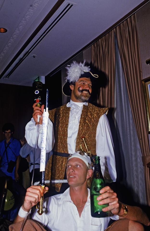 Mike Gatting and Graham Dilley of the England cricket team attend a Christmas party in fancy dress during their Australian tour, December 1986. (Photo by Adrian Murrell/Getty Images)
