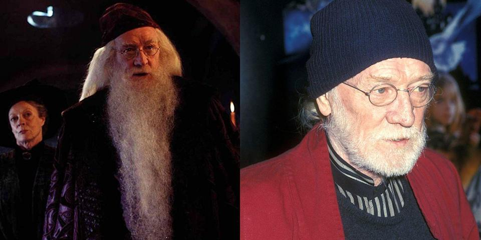 <p><strong>First Film: </strong><em>Harry Potter and the Sorcerer's Stone</em></p><p><strong>Character Played: </strong>Albus Dumbledore</p><p>Harris was the series' first Dumbledore, starring in the first two films before his death in 2002 at the age of 72. </p>