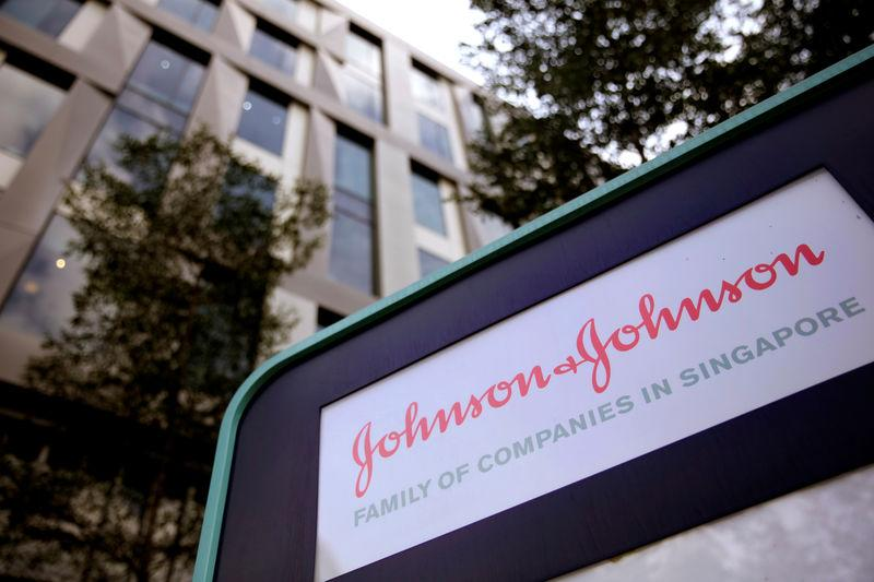 Johnson and Johnson logo is seen at an office building in Singapore