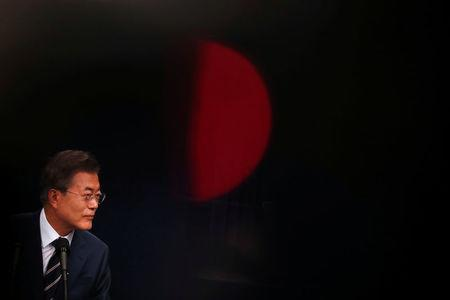 South Korean President Moon Jae-in speaks during a news conference at the Presidential Blue House in Seoul, South Korea, May 27, 2018.?REUTERS/Kim Hong-Ji