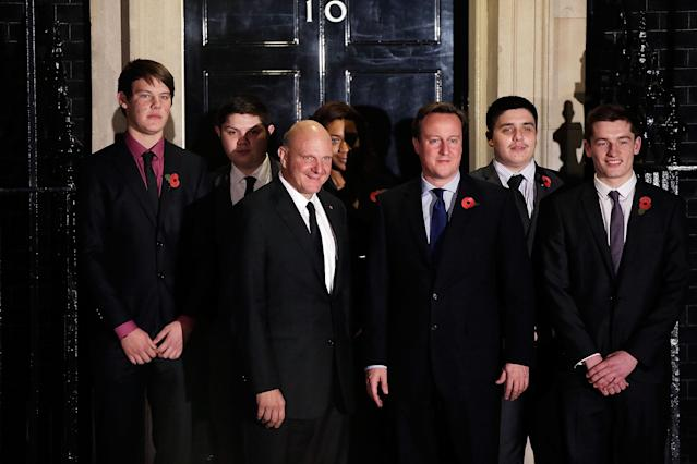 LONDON, ENGLAND - NOVEMBER 07: British Prime Minister David Cameron (C) poses with Microsoft CEO Steve Ballmer (3rdL) and young members of Microsoft's Get On programme at 10 Downing Street on November 7, 2012 in London, England. Microsoft is aiming to give 300,000 young unemployed people help with the skills and inspiration needed to gain their first job. (Photo by Matthew Lloyd/Getty Images)