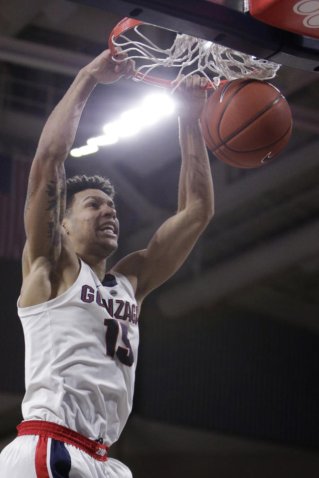 Gonzaga forward Brandon Clarke dunks during the first half of an NCAA college basketball game against Pacific in Spokane, Wash., Thursday, Jan. 10, 2019. (AP Photo/Young Kwak)
