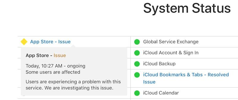 Apple's System Status page acknowledges an App Store issue.