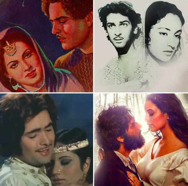 Laila Majnu (1945) starring Swarnalata-Nazir, Nutan-Shammi Kapoor in the 1953 version, Ranjeeta-Rishi Kapoor in the 1976 film, and Tripti Dimri-Avinash Tiwary's 2018 film