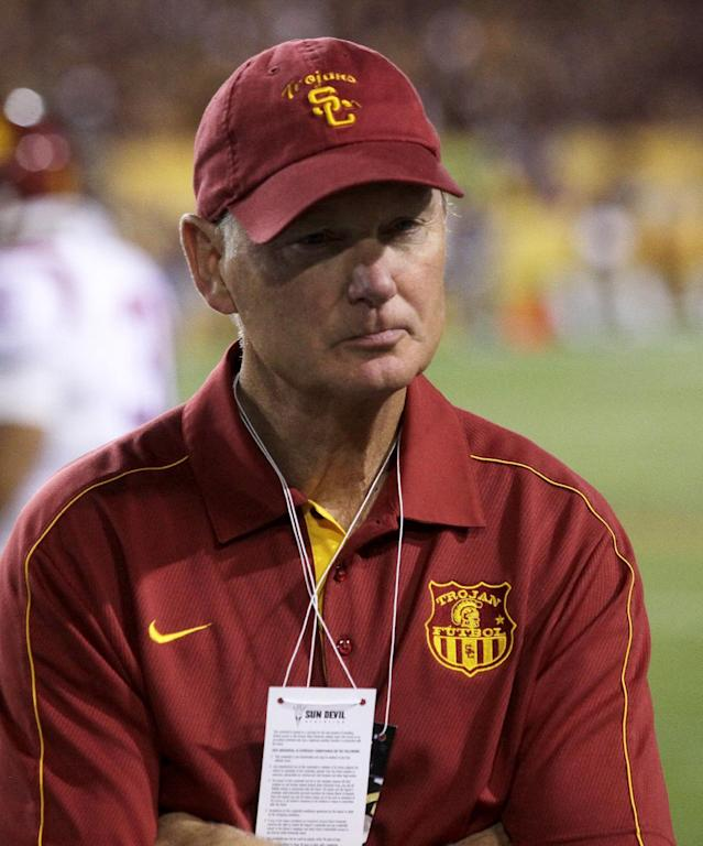 Southern California Athletic Director Pat Haden after losing to Arizona State during an NCAA college football game on Saturday, Sept. 28 2013, in Tempe, Ariz. (AP Photo/Rick Scuteri)