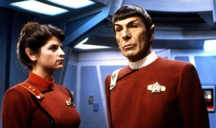 Kirstie Alley and Leonard Nimoy in <i>The Wrath of Khan.</i>