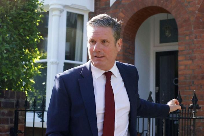 <p>Labour Party leader Keir Starmer leaves his home after the Conservative Party wins a landslide stronghold in Hartlepool</p> (AFP via Getty Images)